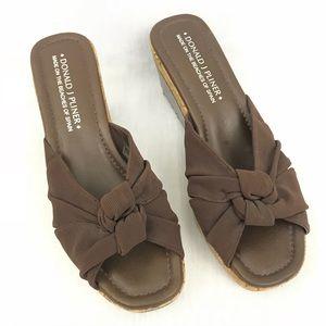 Donald J Pliner Brown Wedge Sandal